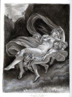 (Sketchbook 2005-7) - Flying Boys Stealing A Woman - Prudhon Study - Charcoal